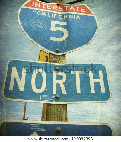 aged and worn vintage photo of california freeway interstate sign