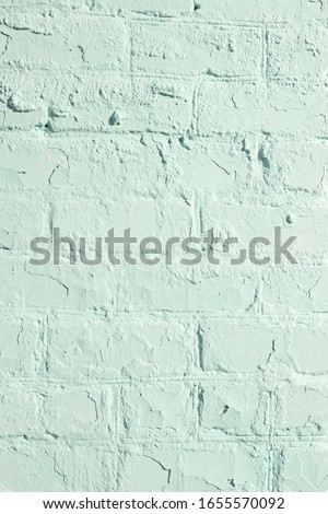 Aged aqua menthe color brick wall textured background for your design, closeup, copy space, vertical Stock photo ©