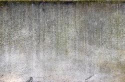 Aged concrete wall showing vertical streaks of dirt and lichen