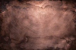 Aged copper plate texture, old worn metal background.