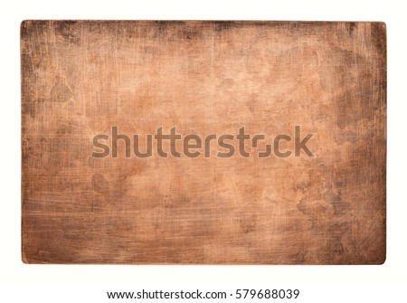 Aged copper plate texture, old worn metal background. Foto d'archivio ©