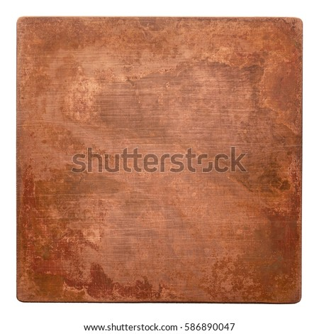 Aged copper plate texture, old worn metal background. #586890047