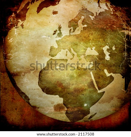 aged Europe map-vintage artwork - stock photo
