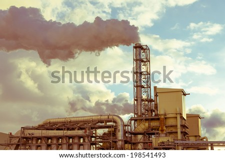 Aged factory with chimney
