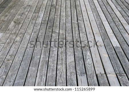 Aged gray wooden terrace floor