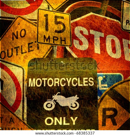 aged grunge photo collage of traffic signs
