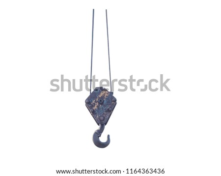 aged industry hook and sling for heavy load, isolated on white background