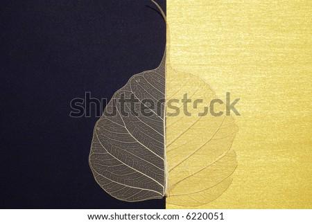 aged leaf over black-gold background