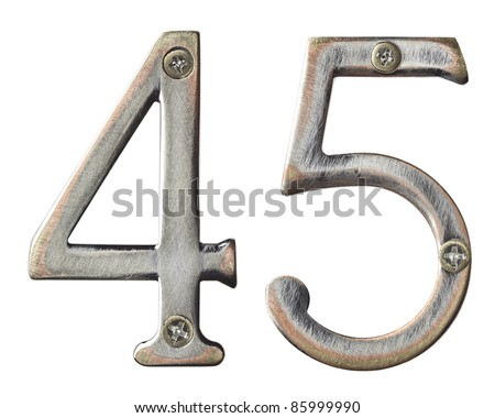 Aged metal numbers with screw heads