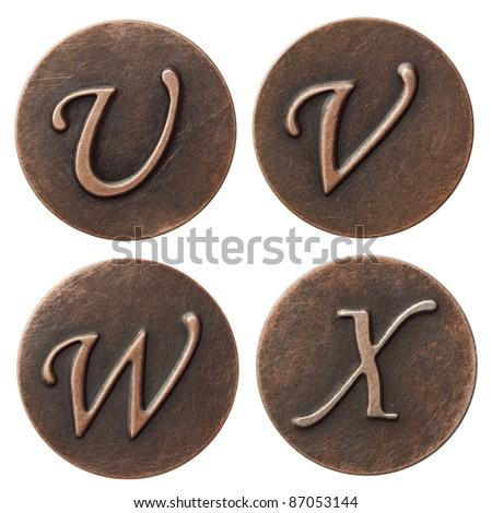Aged metal vintage alphabet letters.