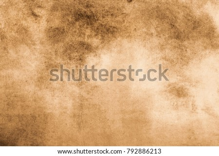 Aged old style vintage background. Old photo texture illustration stylization in sepia colors with blots, stains and scratches #792886213