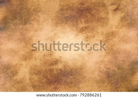 Aged old style vintage background. Old photo texture illustration stylization in sepia colors with blots, stains and scratches #792886261
