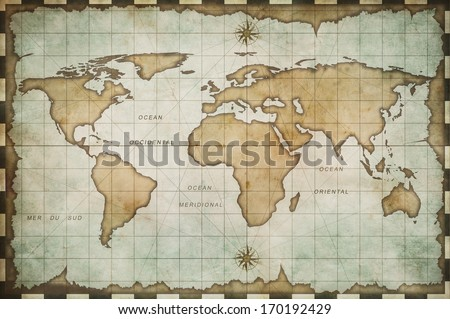 aged old world map #170192429