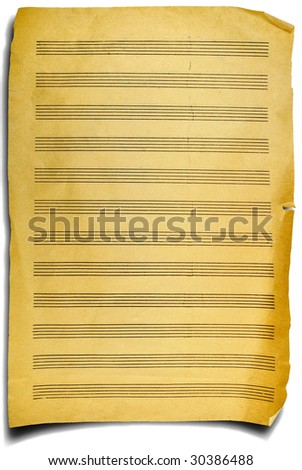 aged page fragment with music  notes, emotional background - stock photo