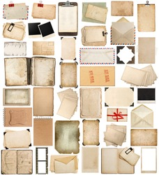 aged paper, books, pages and old postcards isolated on white background. vintage photo frames and corners