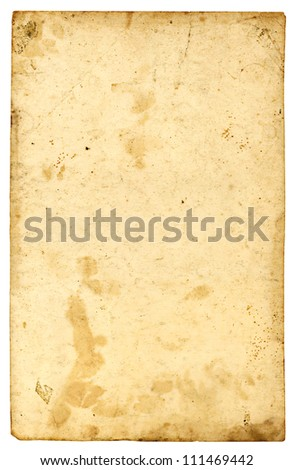 aged paper sheet texture isolate on white