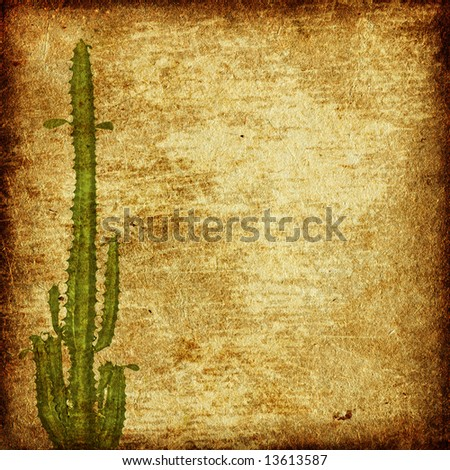 Aged paper texture with cactus and copyspace