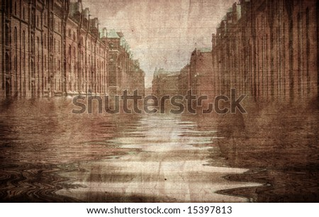 Aged paper with flooded street