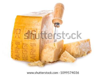 Aged parmesan cheese or parmigiano reggiano isolated on a white background Foto d'archivio ©