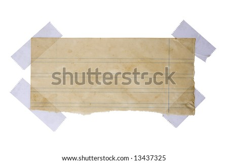 Aged piece of paper stuck with tape