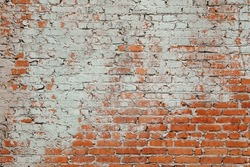 Aged Red Clay Brick Wall Old Texture. Grungy Brickwall Horizontal Background. Vintage Interior Brickwork Backdrop. Red Brown Stonewall Surface. Broken Retro Wall Structure. Retro Grungy Wall.