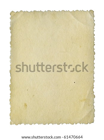 Aged stained textured grunge retro photo paper isolated over white