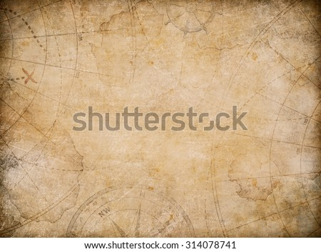 aged treasure map background with compass