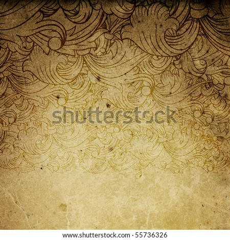 Aged vintage background with floral ornament elements.