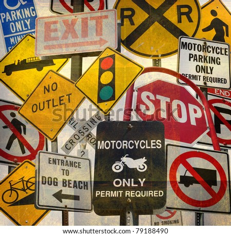 aged vintage collage with traffic signs