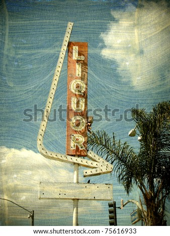 aged vintage photo of liquor store sign
