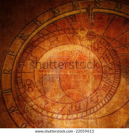 Aged wall texture with planet clock:can be used as background