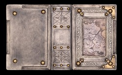 Aged white leather bound medieval book cover with brass corners, vintage map and embossed frame captured in high resolution