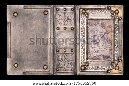 Aged white leather bound medieval book cover with brass corners, vintage map and embossed frame captured in high resolution Foto stock ©
