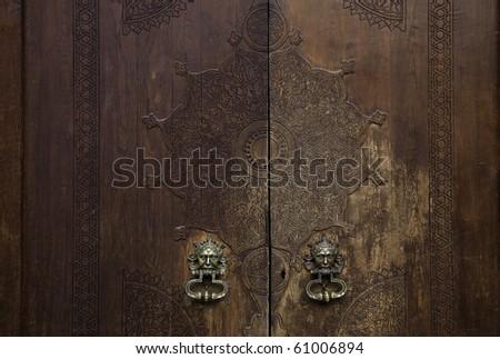 aged wooden door - stock photo