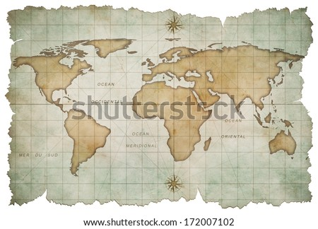 aged world map isolated on white #172007102