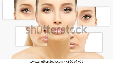 Ageing. Mature woman-young woman.Face with skin problem