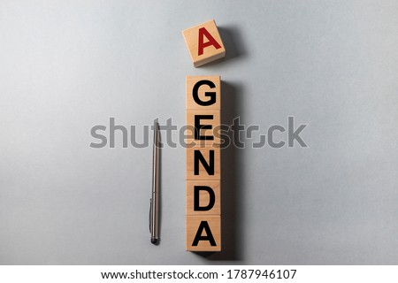 Agenda Meeting Appointment Activity Information Concept, agenda word Stock photo ©