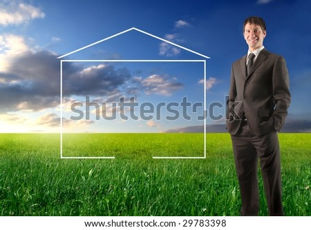agent standing in a grass field with an illustration of an home