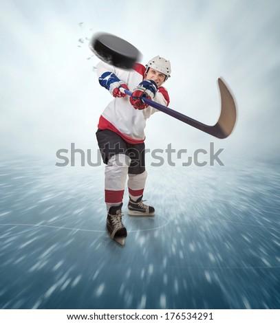 Aggressive hockey player shot into viewer