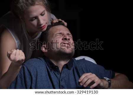 Aggressive woman and domestic violence against husband