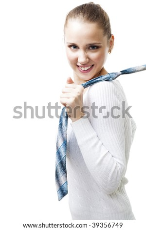 Aggressive woman pull men's tie, look at camera, isolated on white - stock photo