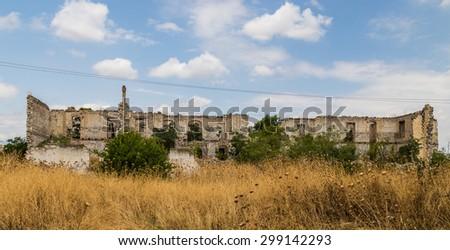 Aghdam, Armenia - July 19, 2015 - Ruined city