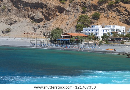 Aghia Roumeli bay and the exit of Samaria gorge at Crete island in Greece