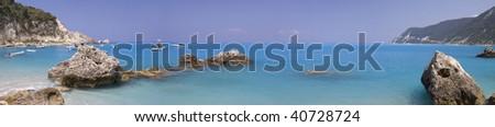 Aghios Nikitas beach (panoramic composition) - stock photo