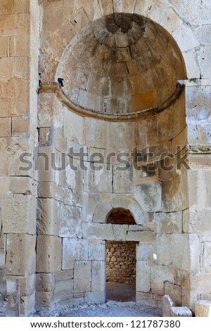 Aghios Titos old byzantine church near ancient Gortys or Gortyna, Crete island,  Greece.