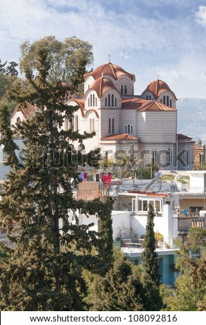 Agia Marina or Saint Marina Greek orthodox church situated on the Hill of the Nymphs in Athens, Greece.