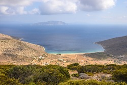 Agia Theodoti beach on Ios Island. Iraklia Island in background. Cyclades, Greece