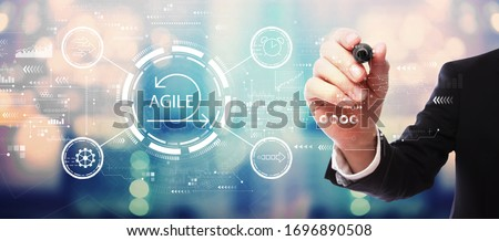 Agile concept with businessman on blurred abstract background Foto d'archivio ©