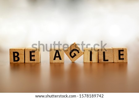 Agile Word Logo Agile Letters Overlay. Agile metodologhy with letters Foto d'archivio ©