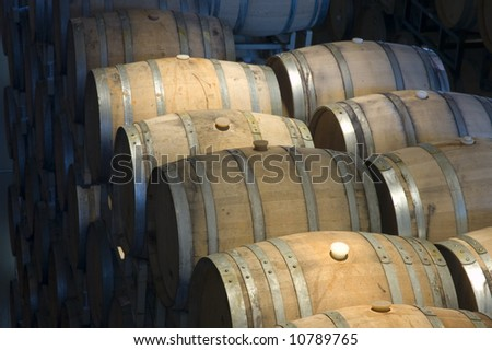 Aging barrels in a Winery in Northern California